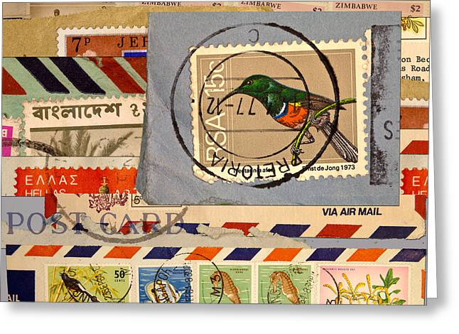Envelope Greeting Cards - Mail Collage South Africa Greeting Card by Carol Leigh