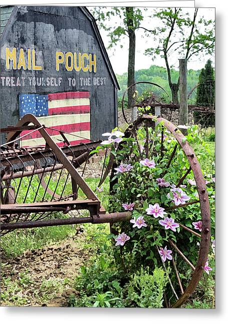 Garden Scene Digital Greeting Cards - Mail Pouch Barn and Clematis Greeting Card by Patricia Januszkiewicz