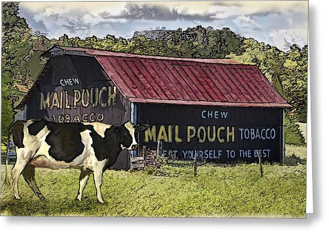 Recently Sold -  - Red Roofed Barn Greeting Cards - Mail Pouch Barn with Cow Greeting Card by Mary Almond
