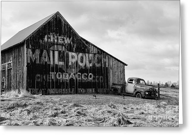 Chewing Tobacco Greeting Cards - Mail Pouch Tobacco Barn in Black and White Greeting Card by Paul Ward