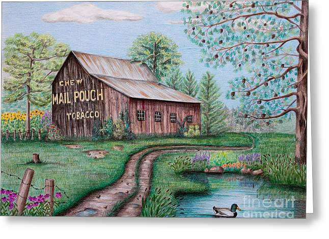 Barn Drawings Greeting Cards - Mail Pouch Tobacco Barn Greeting Card by Lena Auxier