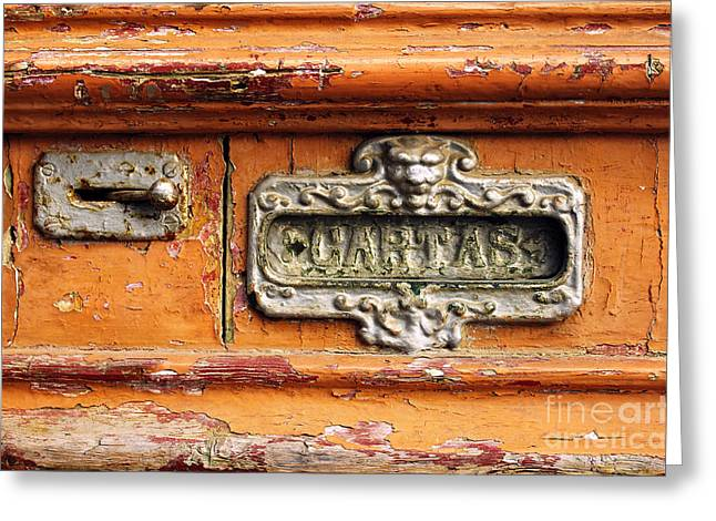 Old Wall Greeting Cards - Mail Slot Greeting Card by Carlos Caetano