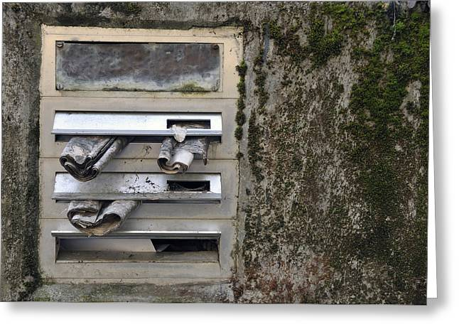 Mailbox with old newspapers Greeting Card by Matthias Hauser