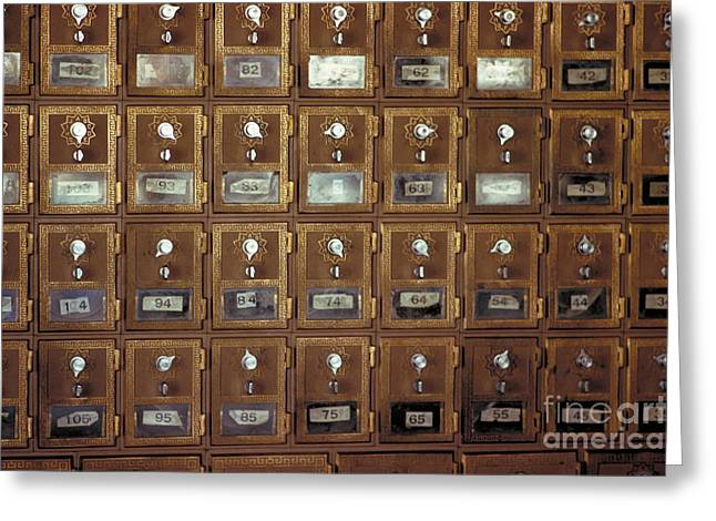 Postal Greeting Cards - Mailboxes Greeting Card by Bedrich Grunzweig