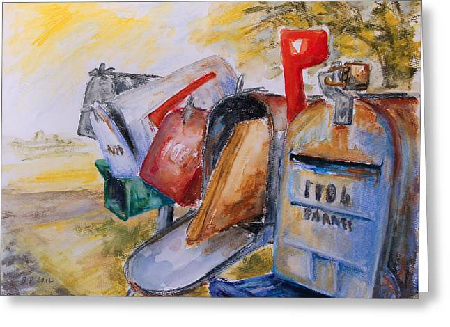 Mailboxes In Texas Greeting Card by Barbara Pommerenke
