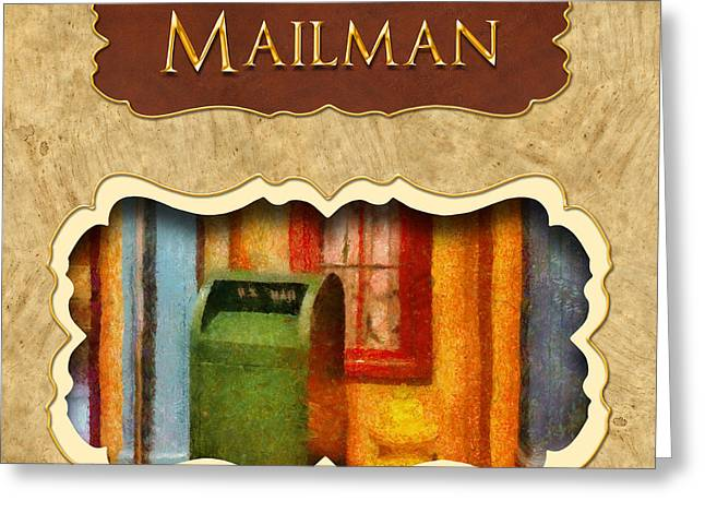 Postal Greeting Cards - Mailman button Greeting Card by Mike Savad
