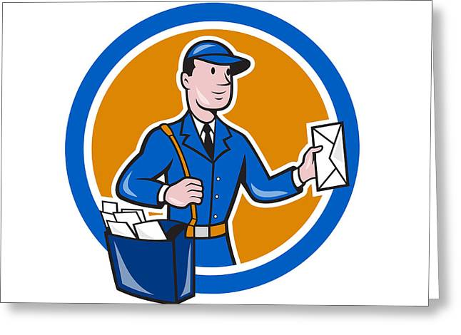 Postman Greeting Cards - Mailman Postman Delivery Worker Circle Cartoon Greeting Card by Aloysius Patrimonio