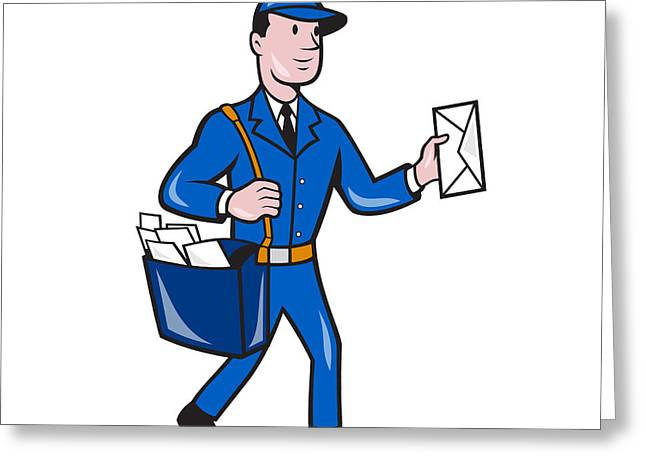 Postman Greeting Cards - Mailman Postman Delivery Worker Isolated Cartoon Greeting Card by Aloysius Patrimonio