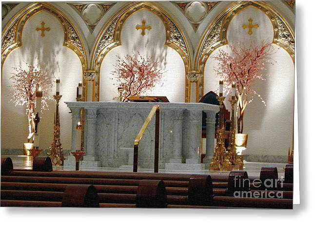 Saint Joseph Greeting Cards - Main Altar Saint Jospehs Cathedral Buffalo New York Greeting Card by Rose Santuci-Sofranko