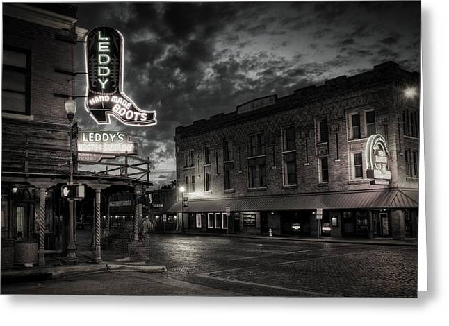Stockyards Greeting Cards - Main and Exchange BW Greeting Card by Joan Carroll