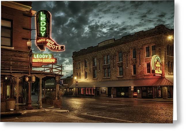 Western Boots Greeting Cards - Main and Exchange Greeting Card by Joan Carroll