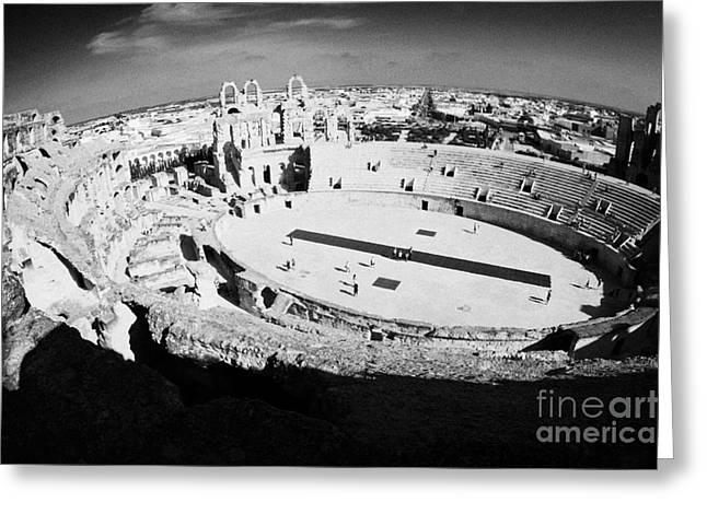 African Heritage Greeting Cards - Main arena and old roman colloseum in the centre of El Djem el jem tunisia Greeting Card by Joe Fox