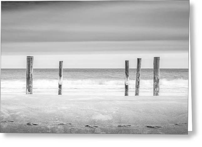 East Hampton Greeting Cards - Main Beach Pilings BW Greeting Card by Ryan Moore