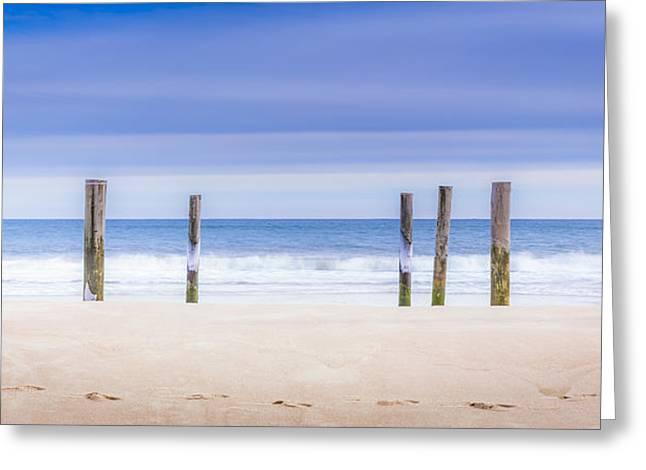 Main Beach Pilings Greeting Card by Ryan Moore