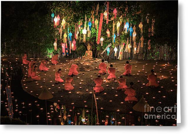 Yee Greeting Cards - main buddha statue for New year anniversary festival at Chaing m Greeting Card by Anek Suwannaphoom