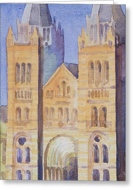 Kensington Greeting Cards - Main Entrance Of The Natural History Museum, London, Sunset, 1994 Wc On Paper Greeting Card by Izabella Godlewska de Aranda