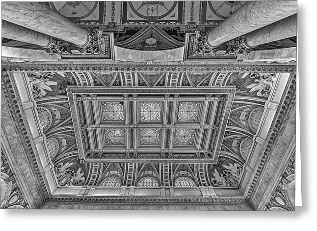 Library Of Congress Greeting Cards - Main Hall Ceiling Library Of Congress BW Greeting Card by Susan Candelario