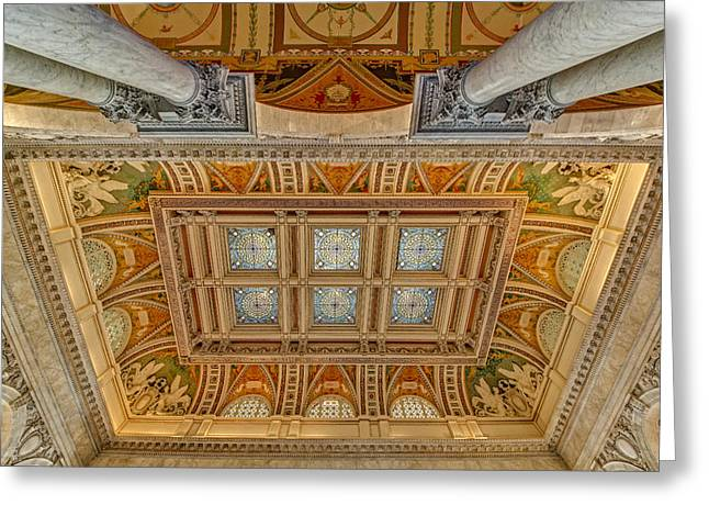 Library Of Congress Greeting Cards - Main Hall Ceiling Library Of Congress Greeting Card by Susan Candelario