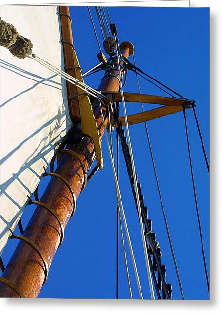 Sailboat Photos Greeting Cards - Main Mast Greeting Card by Bill Caldwell -        ABeautifulSky Photography