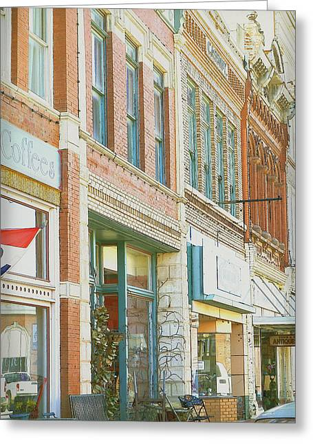 Annpowellart Greeting Cards - Main Street America street scene photograph Greeting Card by Ann Powell