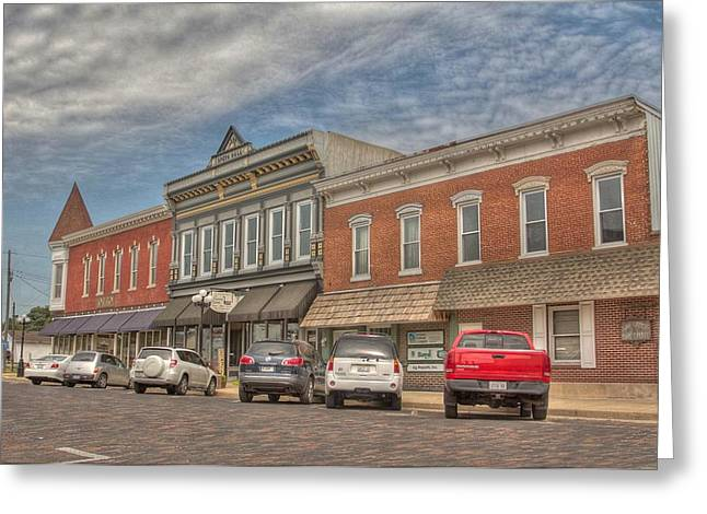 Main Street Greeting Cards - Main Street Arcola Greeting Card by Susan Knodle
