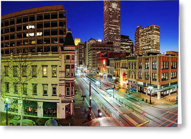 Main Street Greeting Cards - Main Street at Twilight - Downtown Houston Skyline Texas Greeting Card by Silvio Ligutti