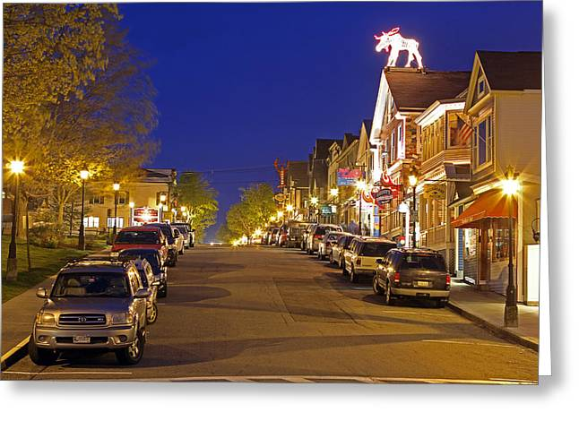 Main Street Greeting Cards - Main Street Bar Harbor Greeting Card by Juergen Roth