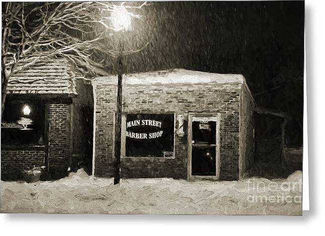 Main Street Greeting Cards - Main Street Barber Shop Blue Springs Greeting Card by Andee Design