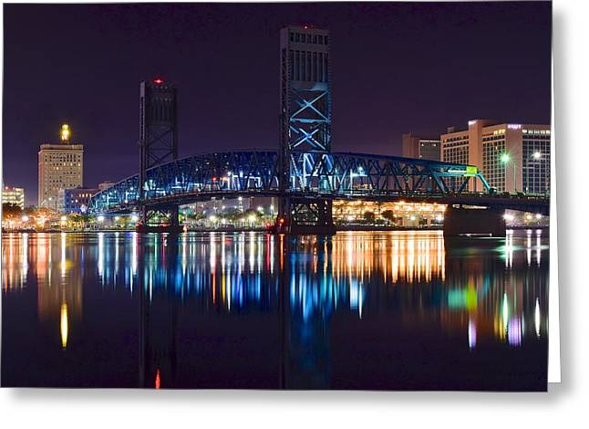 Jacksonville Florida Greeting Cards - Main Street Bridge Greeting Card by Frozen in Time Fine Art Photography