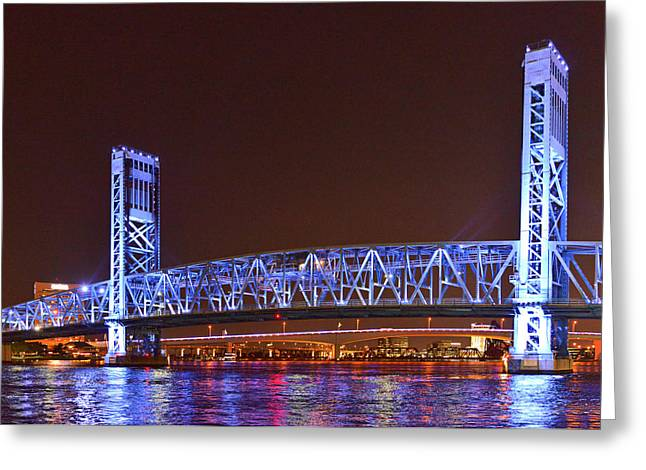 Nighttime Greeting Cards - Main Street Bridge Jacksonville Greeting Card by Christine Till