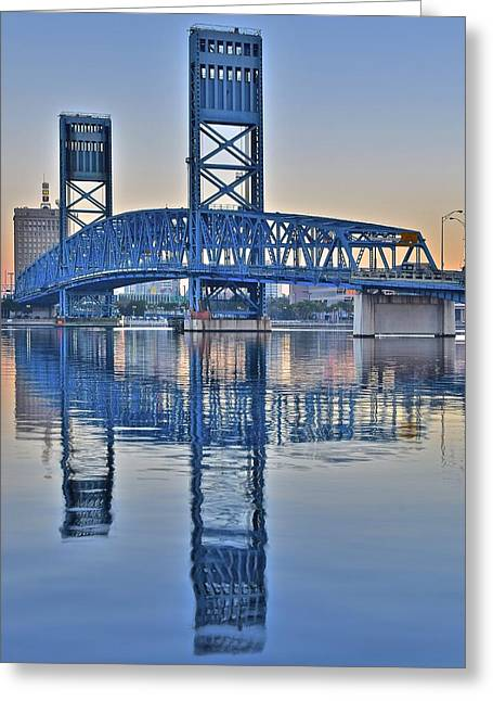 Main Street Greeting Cards - Main Street Bridge Jacksonville Florida Greeting Card by Frozen in Time Fine Art Photography