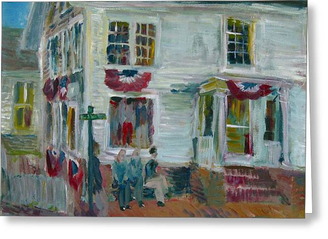 Clapboard House Paintings Greeting Cards - Main Street Edgartown Greeting Card by Edward Ching