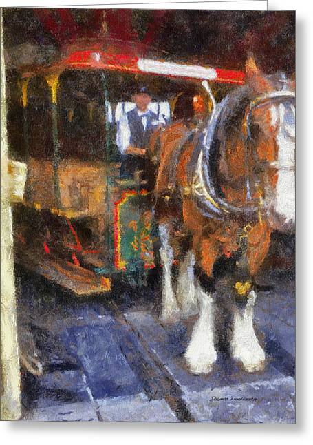 Hospital Theme Greeting Cards - Main Street Horse And Trolley WDW Photo Art Greeting Card by Thomas Woolworth
