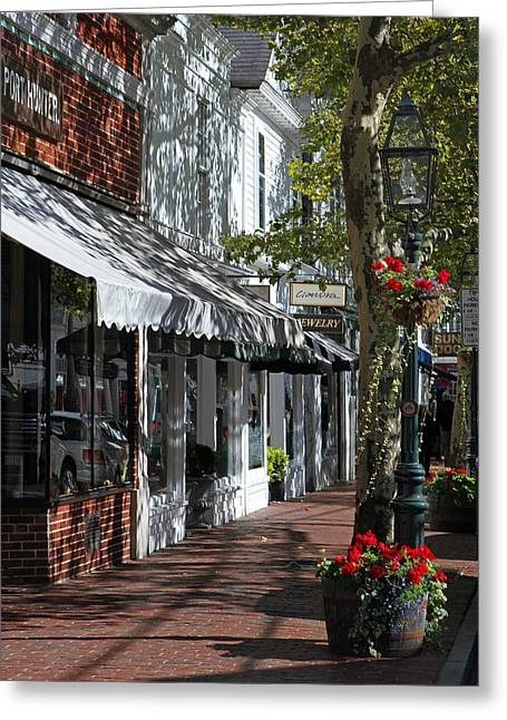 Main Street In Edgartown Greeting Card by Juergen Roth