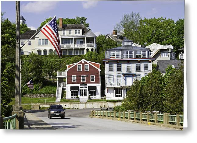 New England Village Scene Greeting Cards - Main Street in Rockport Maine Greeting Card by Keith Webber Jr