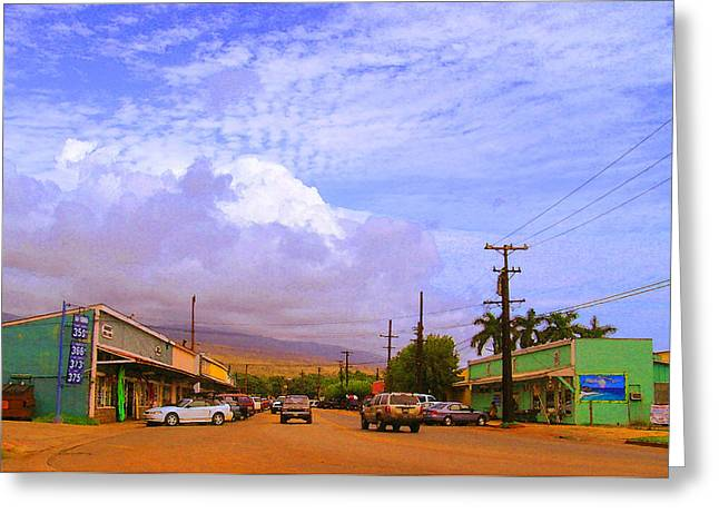 Tropical Island Greeting Cards - Main Street Kaunakakai Greeting Card by James Temple