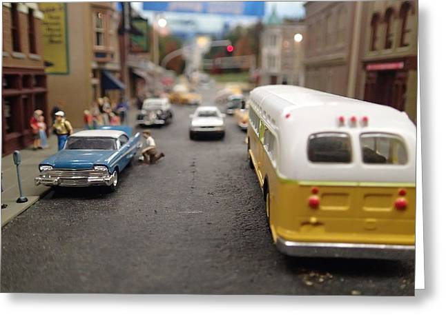 Main Street Greeting Cards - Main Street Plasticville Greeting Card by Geoff Strehlow