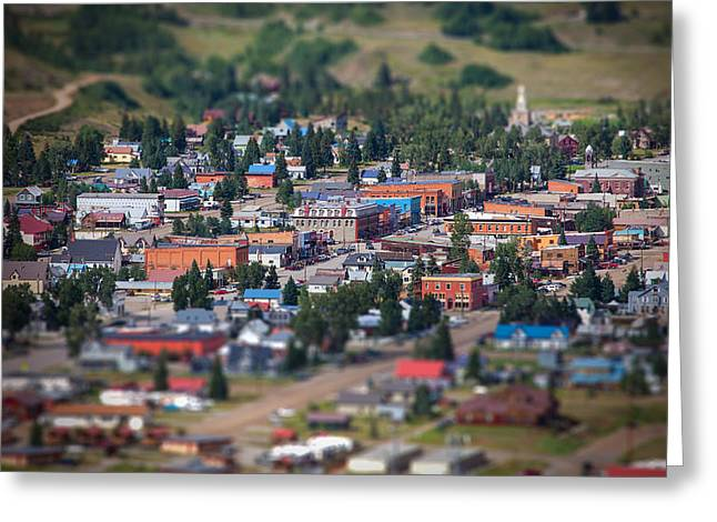 Tilt Shift Greeting Cards - Main Street Silverton Colorado Greeting Card by Darren  White