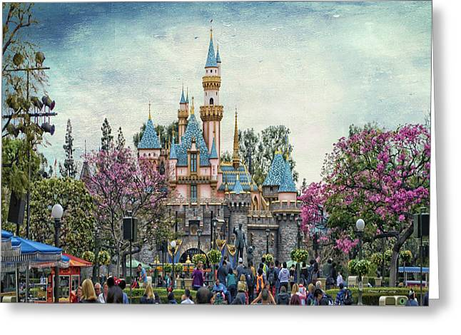 Magical Place Photographs Greeting Cards - Main Street Sleeping Beauty Castle Disneyland Textured Sky Greeting Card by Thomas Woolworth