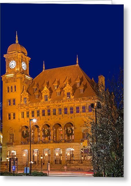 Main Street Greeting Cards - Main Street Station Night Blue Greeting Card by Tim Wilson