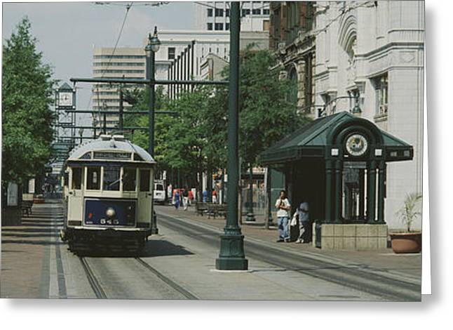 Public Transportation Greeting Cards - Main Street Trolley Court Square Greeting Card by Panoramic Images