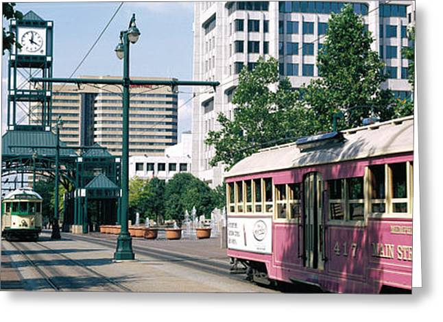 Public Transportation Greeting Cards - Main Street Trolley Memphis Tn Greeting Card by Panoramic Images