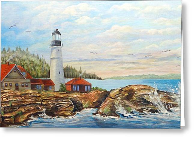 Maine Lighthouses Greeting Cards - Maine Atlantic Lighthouse Greeting Card by Anthony DiNicola