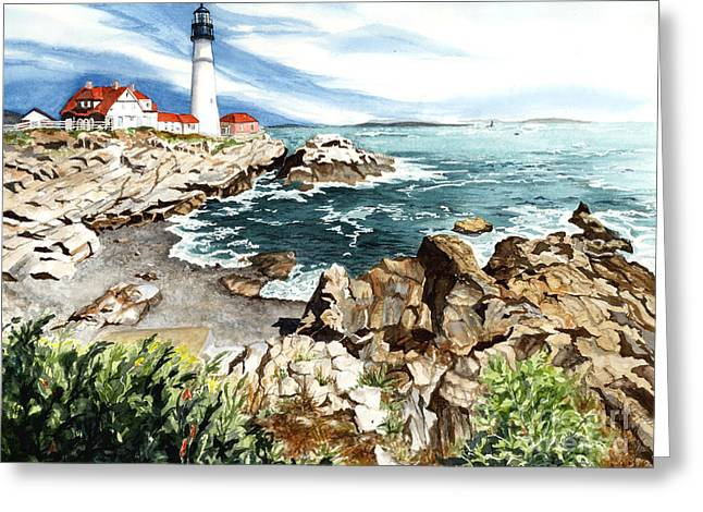 Best Sellers -  - Maine Lighthouses Greeting Cards - Maine Attraction Greeting Card by Barbara Jewell