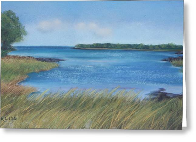 Ocean Shore Pastels Greeting Cards - Maine Blues Greeting Card by Carol Corliss