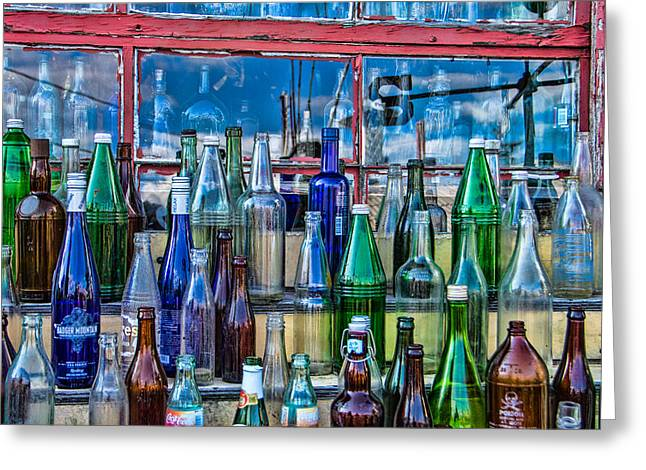 Glass Bottle Greeting Cards - Maine Bottle Collector Greeting Card by Steven Bateson