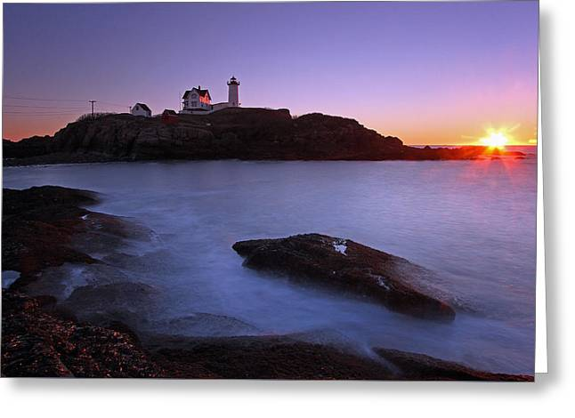 Sohier Park Greeting Cards - Maine Cape Neddick Nubble Lighthouse Greeting Card by Juergen Roth