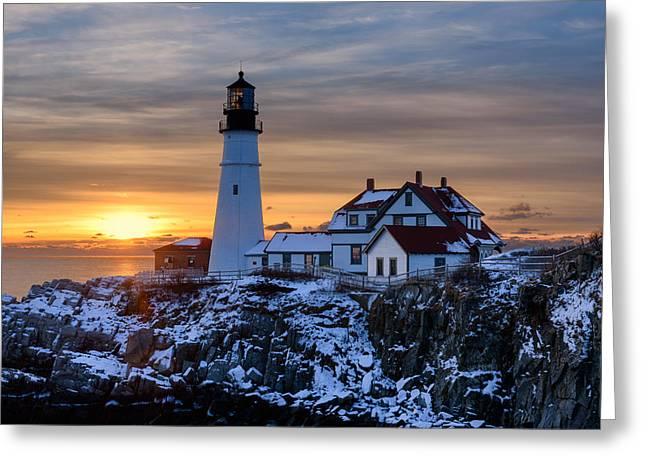 Seascape. Winter Greeting Cards - Maine Classic Greeting Card by Michael Blanchette