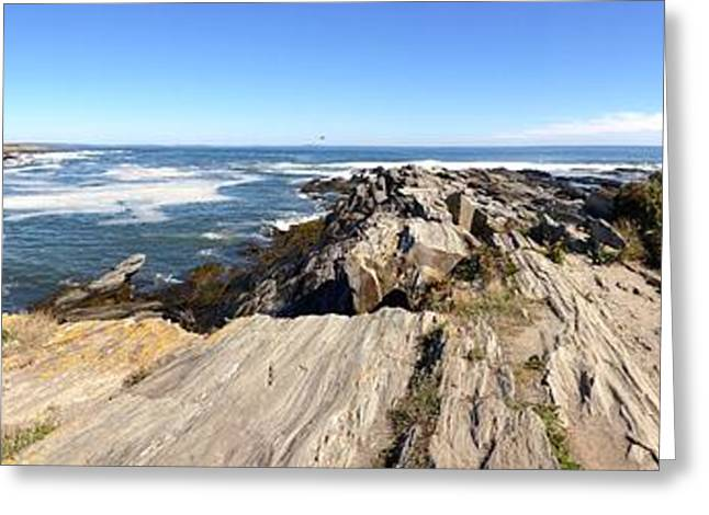 Maine Landscape Greeting Cards - Maine Coast Lighthouse Panorama Greeting Card by Pat Exum