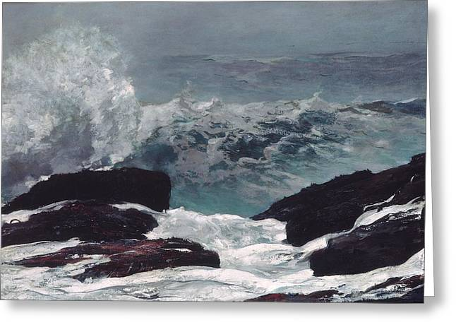 Maine Beach Paintings Greeting Cards - Maine Coast Greeting Card by Winslow Homer